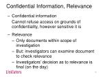 confidential information relevance