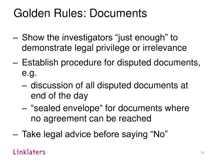 Golden Rules: Documents