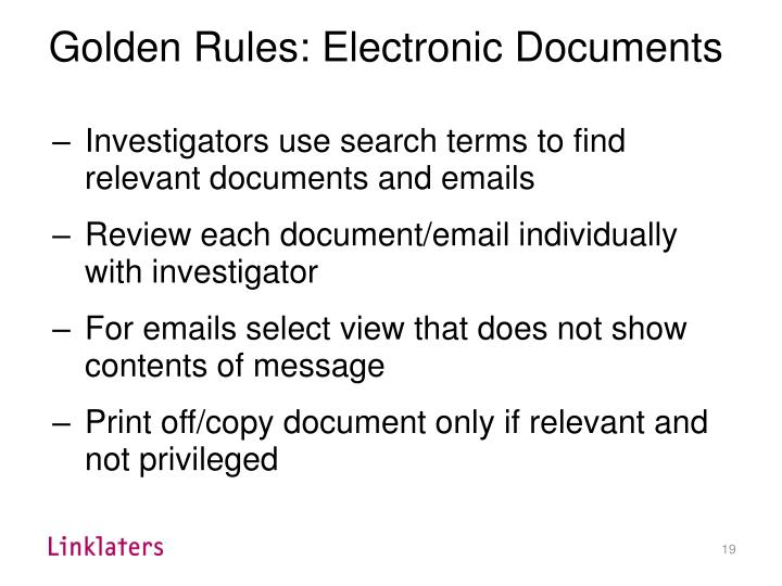 Golden Rules: Electronic Documents