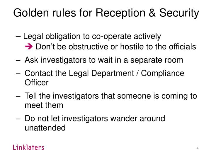 Golden rules for Reception & Security