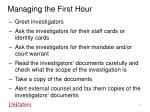 managing the first hour