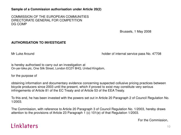 Sample of a Commission authorisation under Article 20(2)