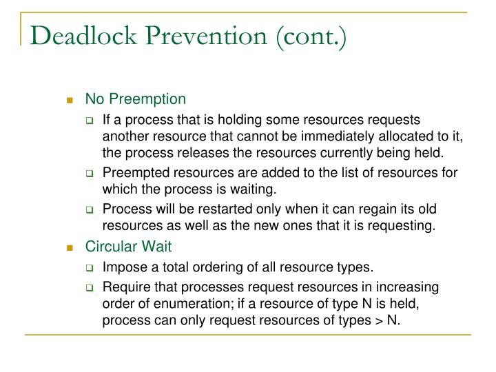 Deadlock Prevention (cont.)