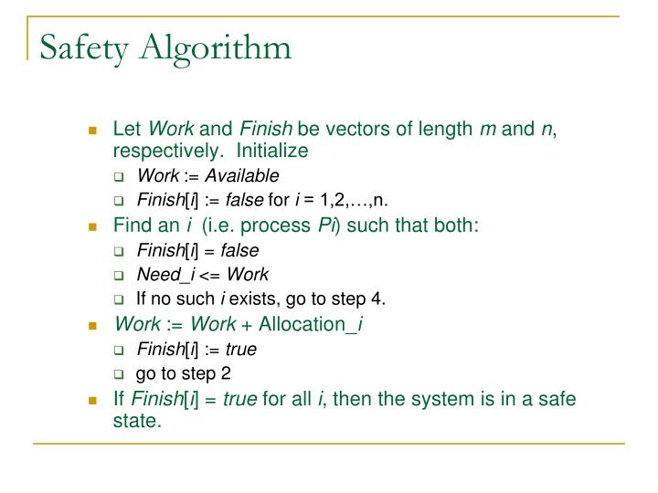 Safety Algorithm
