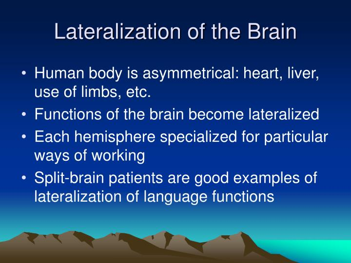 Lateralization of the Brain
