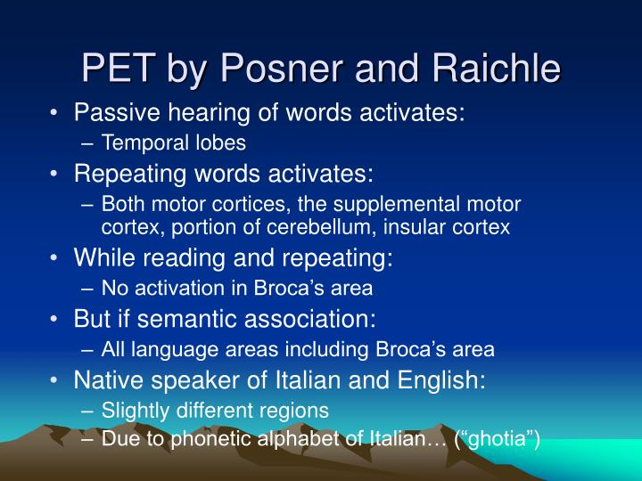 PET by Posner and Raichle