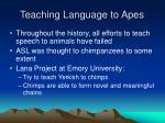 teaching language to apes