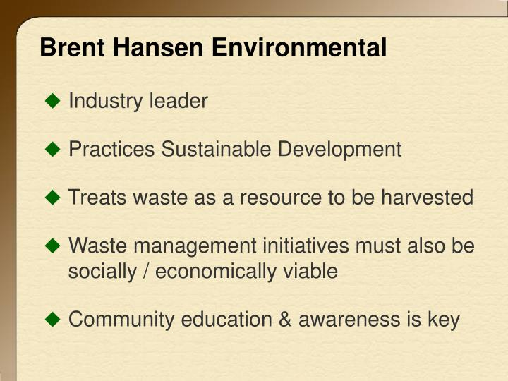 Brent hansen environmental