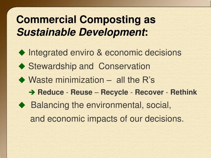 Commercial composting as sustainable development