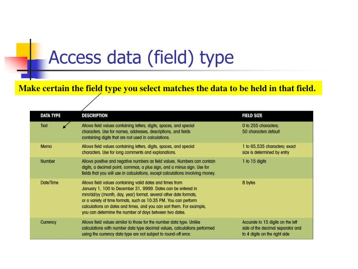 Access data (field) type