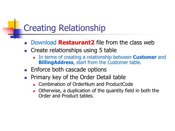 Creating Relationship