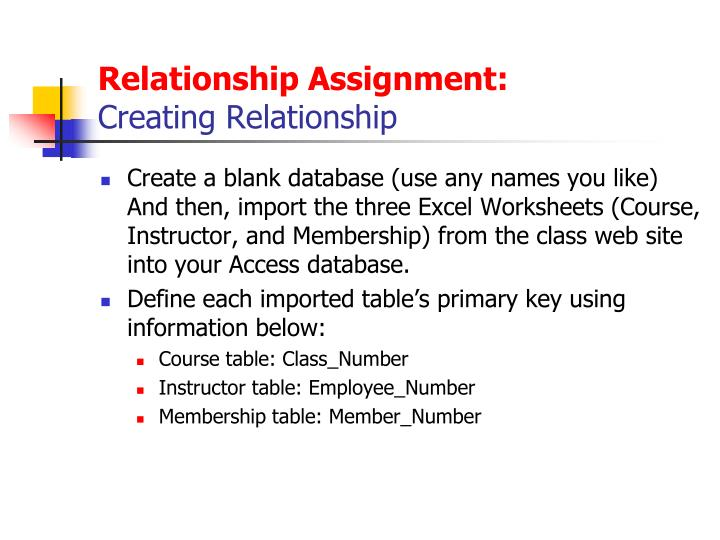 Relationship Assignment