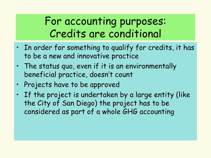 For accounting purposes: