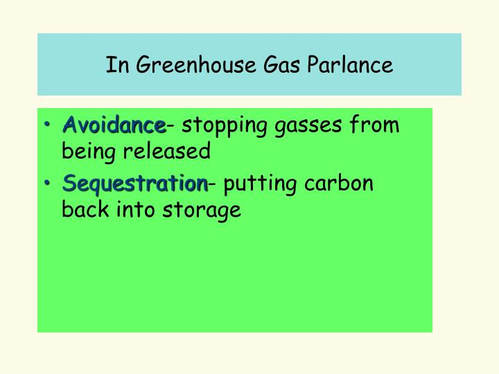 In Greenhouse Gas Parlance