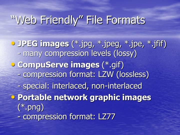 """Web Friendly"" File Formats"