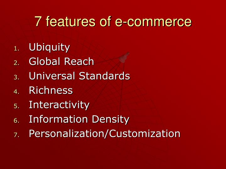 7 features of e-commerce