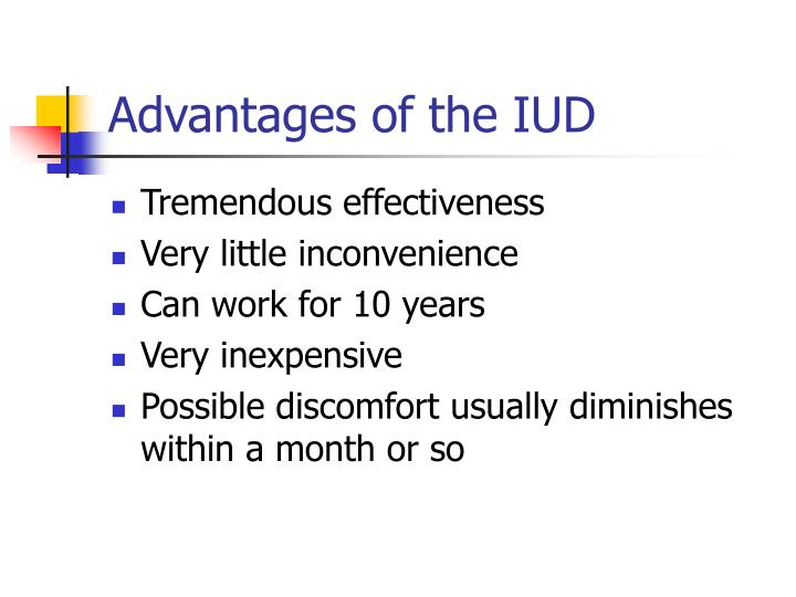 Advantages of the IUD