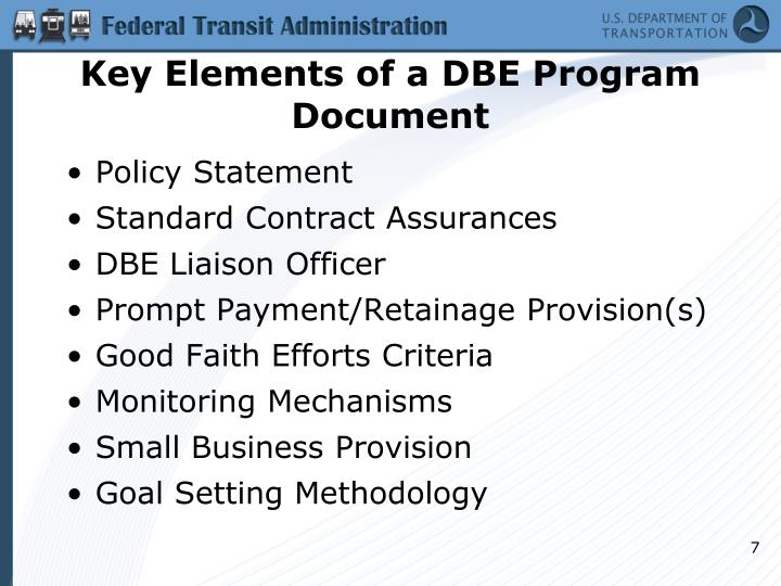 Key Elements of a DBE Program Document