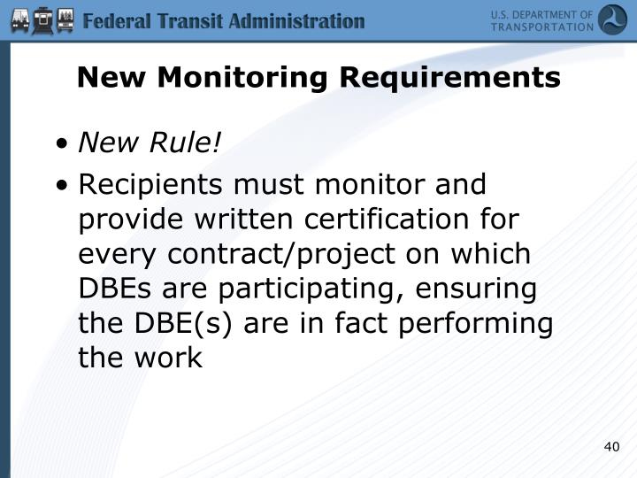 New Monitoring Requirements