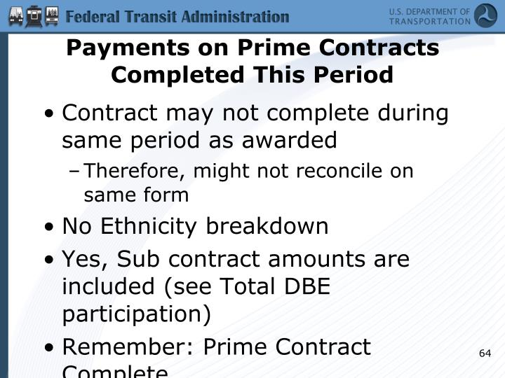 Payments on Prime Contracts Completed This Period