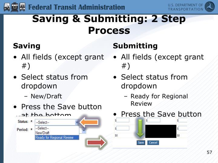 Saving & Submitting: 2 Step Process
