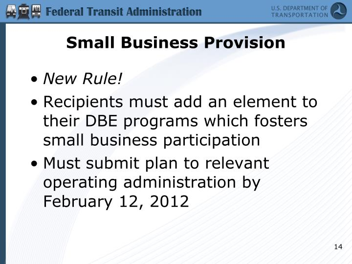 Small Business Provision