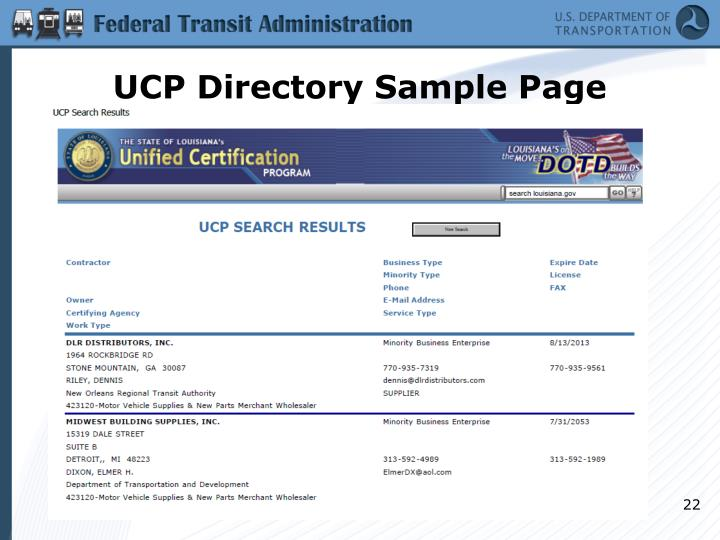 UCP Directory Sample Page