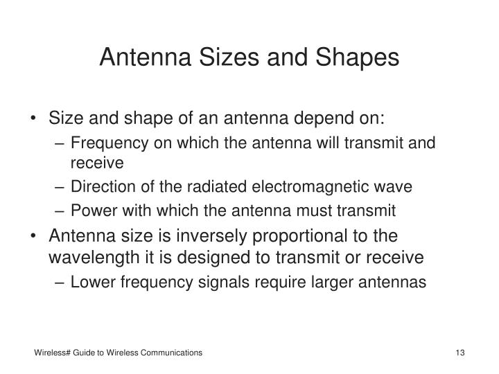 Antenna Sizes and Shapes