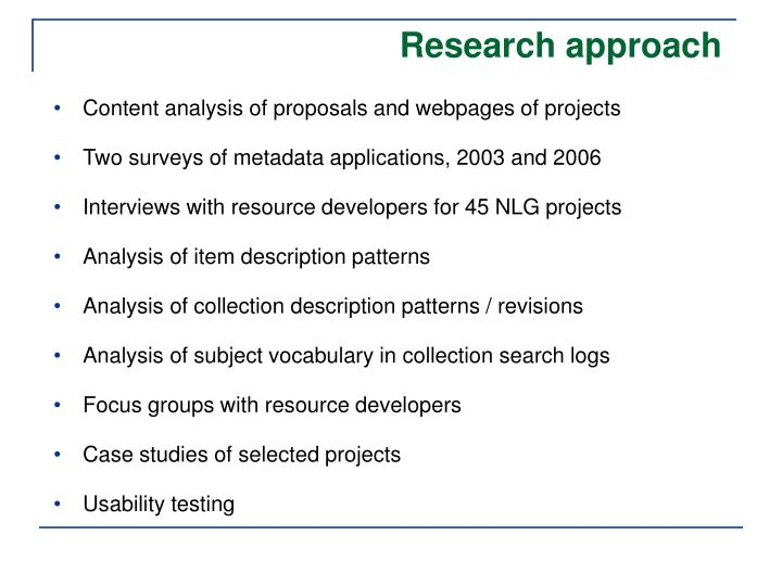 Content analysis of proposals and webpages of projects