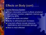 effects on body cont