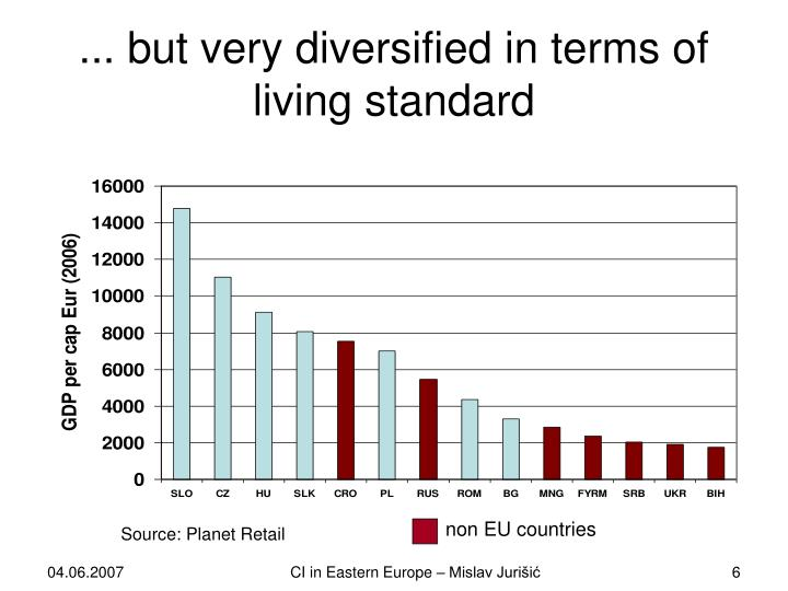 ... but very diversified in terms of living standard