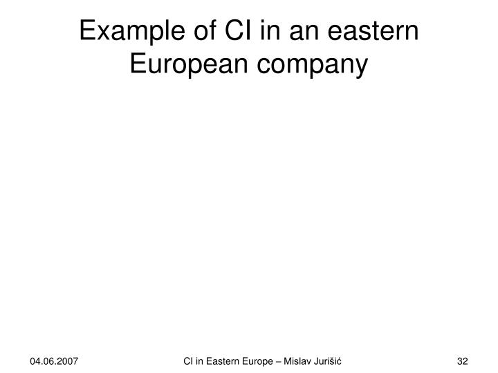 Example of CI in an eastern European company