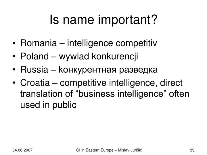 Is name important?