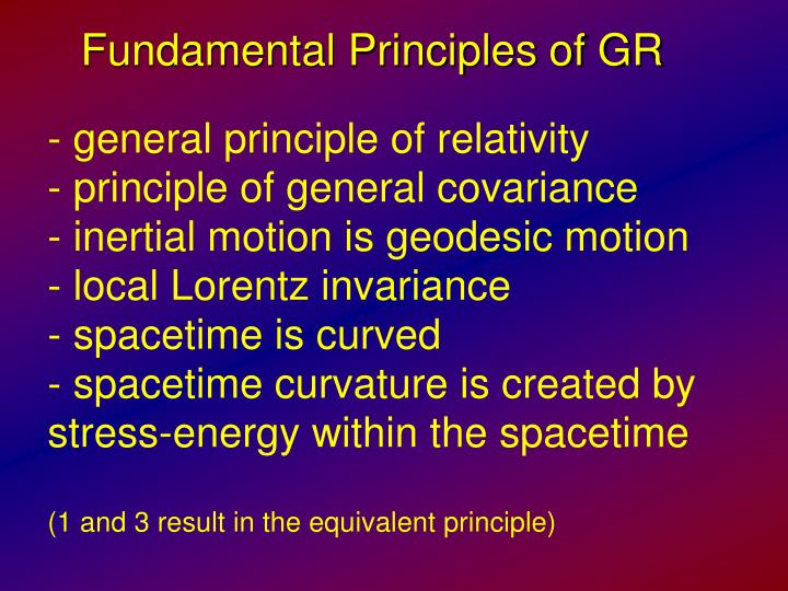Fundamental Principles of GR