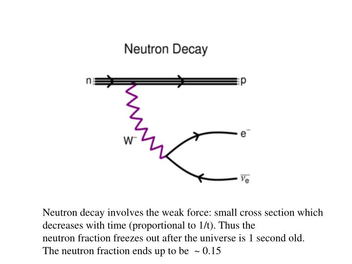 Neutron decay involves the weak force: small cross section which