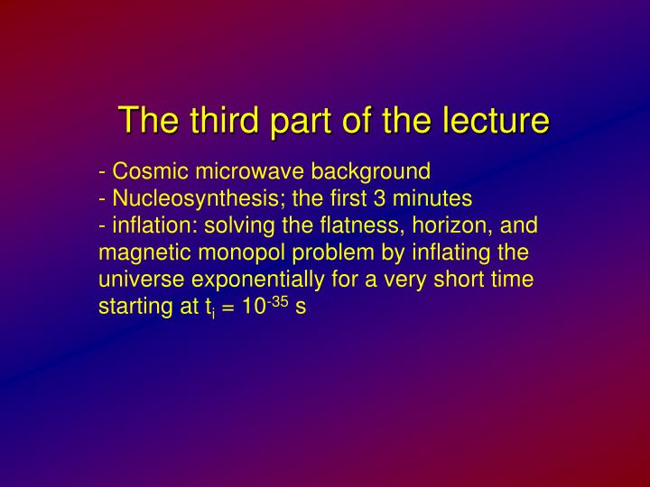 The third part of the lecture