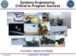 systems engineering critical to program success