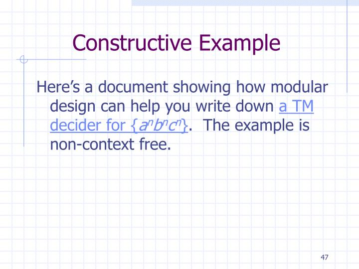 Constructive Example