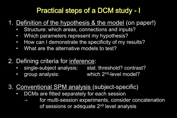 Practical steps of a DCM study - I