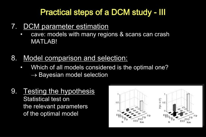 Practical steps of a DCM study - III