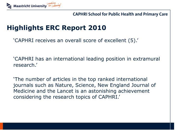 Highlights ERC Report 2010
