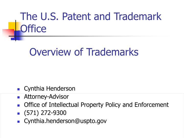 The u s patent and trademark office