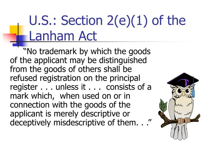 U.S.: Section 2(e)(1) of the Lanham Act
