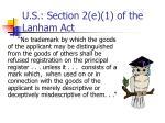 u s section 2 e 1 of the lanham act