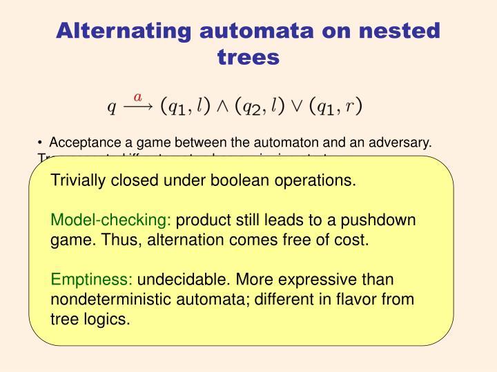 Alternating automata on nested trees