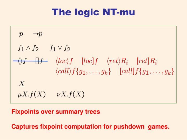 The logic NT-mu