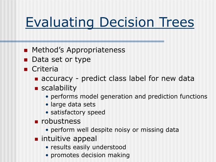Evaluating Decision Trees