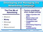 developing and managing the advertising campaign1