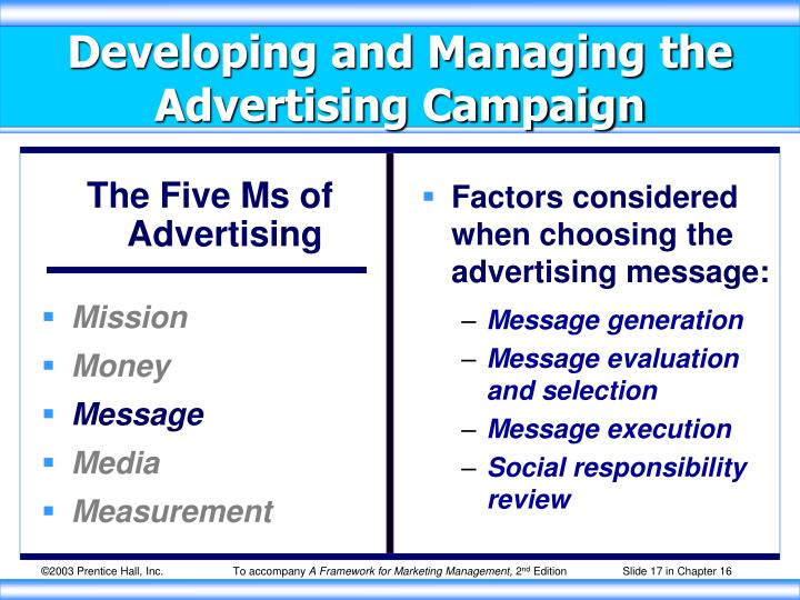 Factors considered when choosing the advertising message: