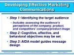developing effective marketing communications1